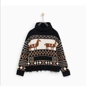 NWT zara girls jacquard llamas sweater 13-14 years